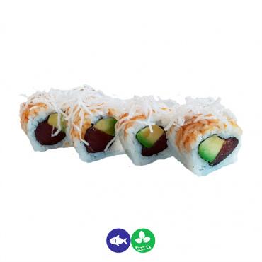 65.uramaki atún, aguacate y fideos fritos