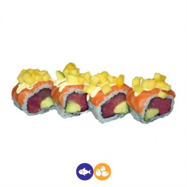 67.uramaki salmón, aún, aguacate y mango