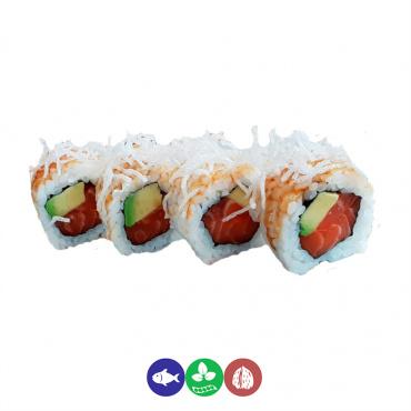69.uramaki salmón, aguacate y fideos fritos