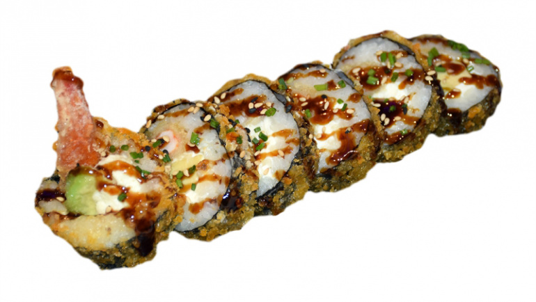 79.uramaki tempura langostinos, aguacate y queso